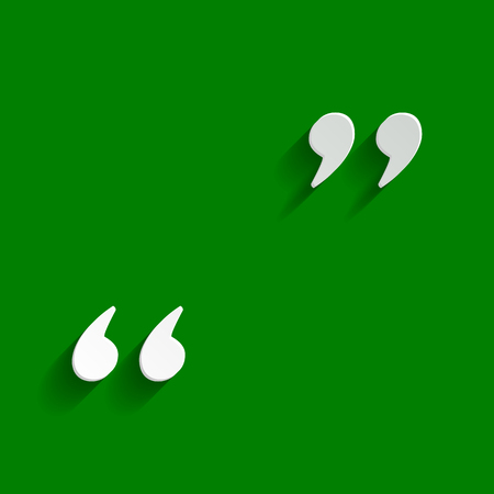 Quote sign illustration. Vector. Paper whitish icon with soft shadow on green background.