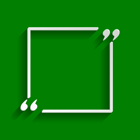 Text quote sign. Vector. Paper whitish icon with soft shadow on green background. Illustration
