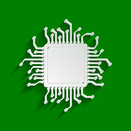 CPU Microprocessor illustration. Vector. Paper whitish icon with soft shadow on green background. Illustration