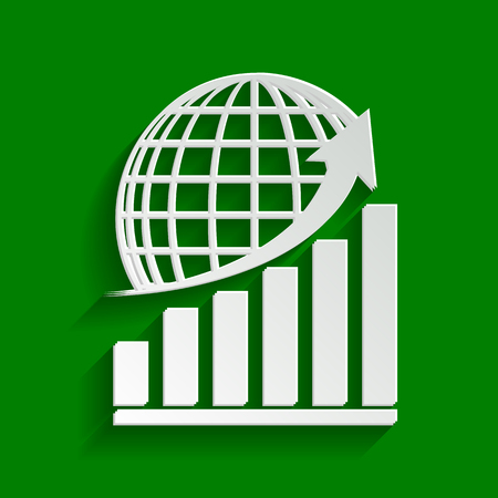 Growing graph with earth. Vector. Paper whitish icon with soft shadow on green background. Illustration