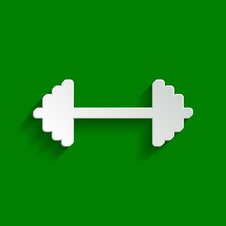 Dumbbell weights sign. Vector. Paper whitish icon with soft shadow on green background.