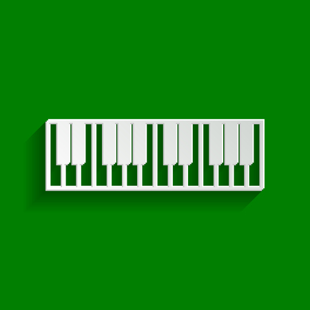 Piano Keyboard sign. Vector. Paper whitish icon with soft shadow on green background.