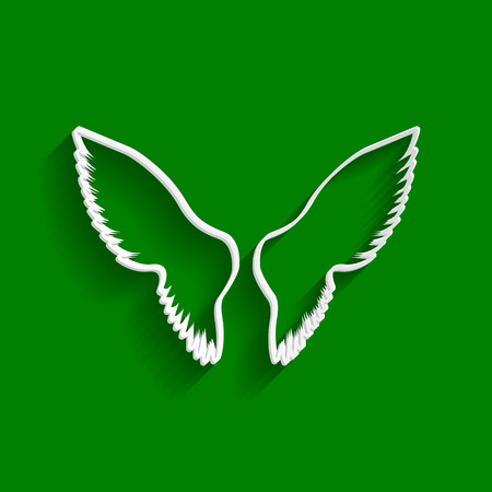Wings sign illustration. Vector. Paper whitish icon with soft shadow on green background. Illustration
