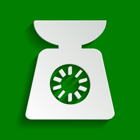 an ounce: Kitchen scales sign. Vector. Paper whitish icon with soft shadow on green background.