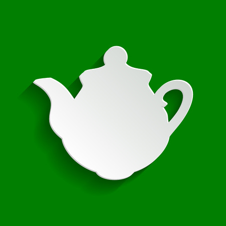 prepare: Tea maker Kitchen sign. Vector. Paper whitish icon with soft shadow on green background. Illustration