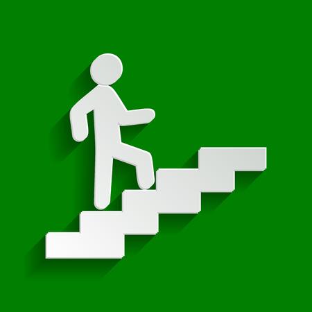 Homme sur les escaliers en remontant. Vecteur. Icône blanchâtre de papier avec une ombre douce sur fond vert. Vecteurs