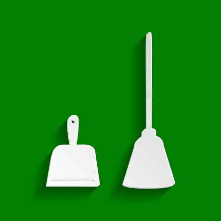 Dustpan vector sign. Scoop for cleaning garbage housework dustpan equipment. Vector. Paper whitish icon with soft shadow on green background.