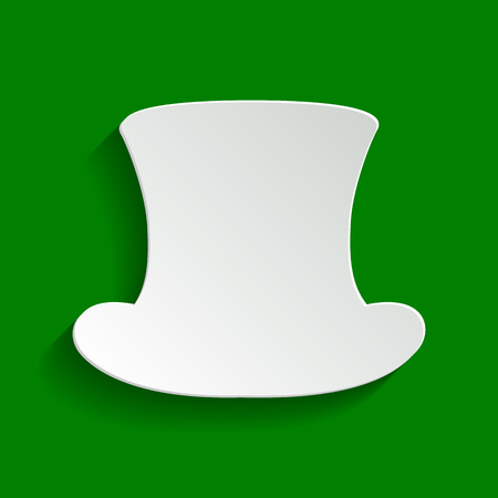 silk hat: Top hat sign. Vector. Paper whitish icon with soft shadow on green background.