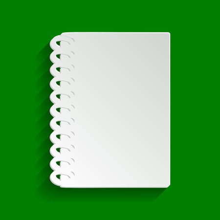 Notebook simple sign. Vector. Paper whitish icon with soft shadow on green background.