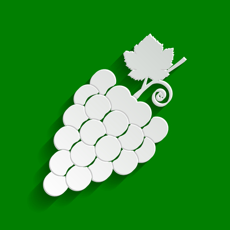 Grapes sign illustration. Vector. Paper whitish icon with soft shadow on green background. Illustration
