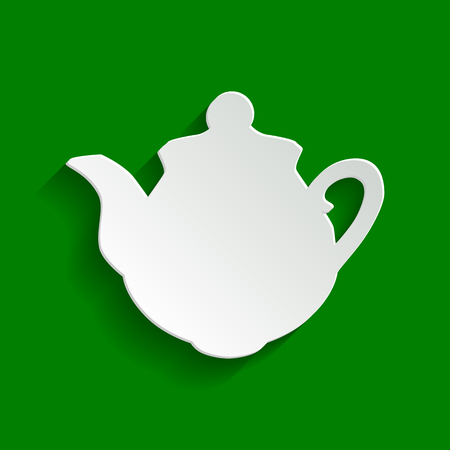 Tea maker sign. Vector. Paper whitish icon with soft shadow on green background. Illustration
