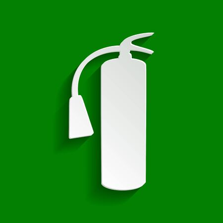 hazard sign: Fire extinguisher sign. Vector. Paper whitish icon with soft shadow on green background.