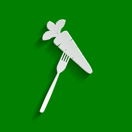 Vegetarian food sign illustration. Vector. Paper whitish icon with soft shadow on green background.