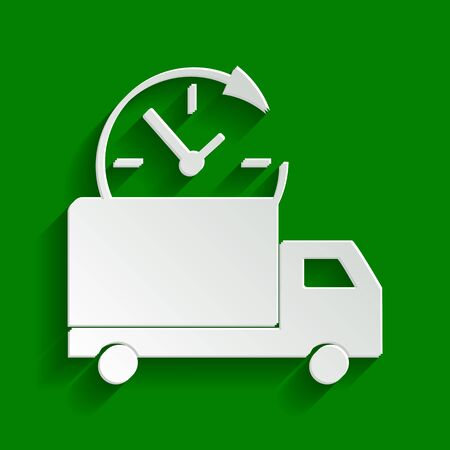 semitruck: Delivery sign illustration. Vector. Paper whitish icon with soft shadow on green background.