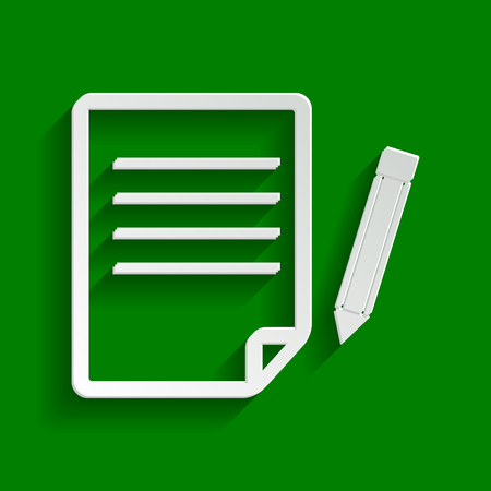 Paper and pencil sign. Vector. Paper whitish icon with soft shadow on green background.