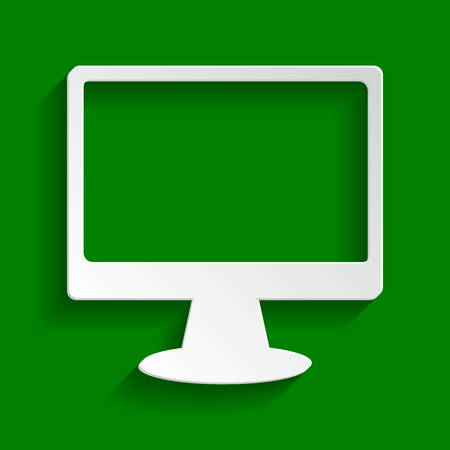 led display: Monitor with brush sign. Vector. Paper whitish icon with soft shadow on green background.
