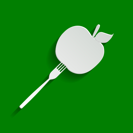 prepare: Vegetarian food sign illustration. Vector. Paper whitish icon with soft shadow on green background.