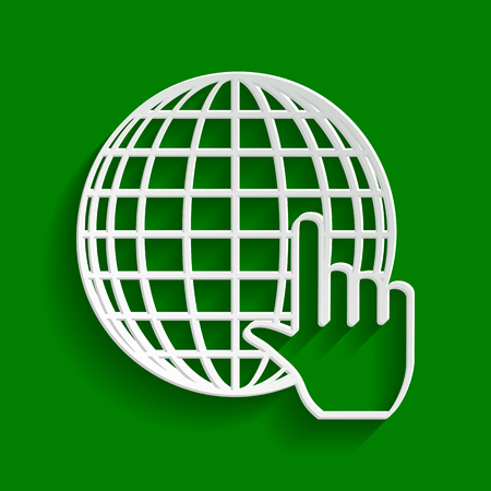 Earth Globe with cursor. Vector. Paper whitish icon with soft shadow on green background.