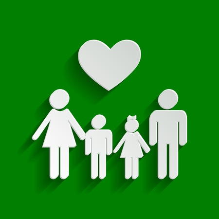 Family symbol with heart. Husband and wife are kept childrens hands. Vector. Paper whitish icon with soft shadow on green background.