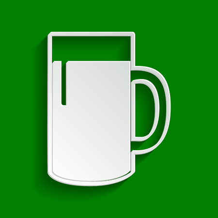 Beer glass sign. Vector. Paper whitish icon with soft shadow on green background.