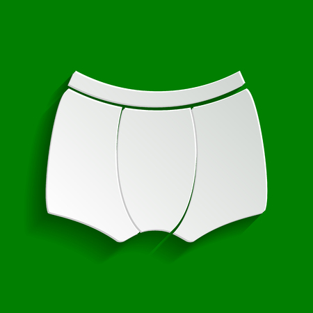 man's: Mans underwear sign. Vector. Paper whitish icon with soft shadow on green background. Illustration