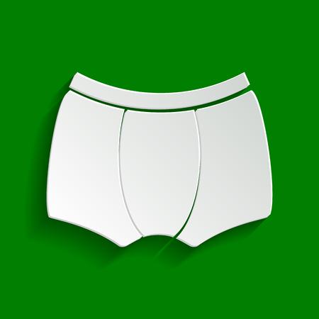Signe de sous-vêtements de l'homme. Vecteur. Icône blanchâtre de papier avec une ombre douce sur fond vert. Banque d'images - 81302048