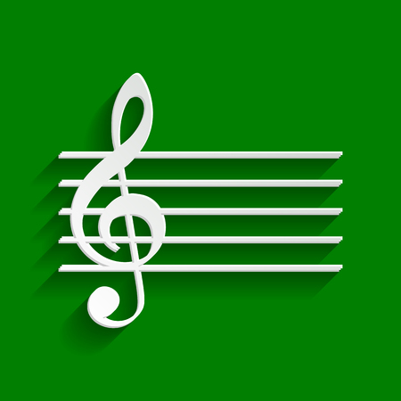 quaver: Music violin clef sign. G-clef. Vector. Paper whitish icon with soft shadow on green background.