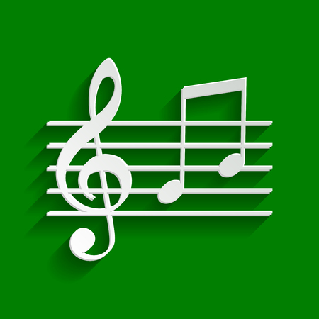 Music violin clef sign. G-clef and notes G, H. Vector. Paper whitish icon with soft shadow on green background. Illustration
