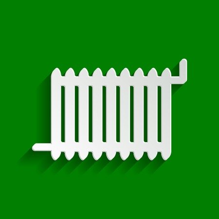 Radiator sign. Vector. Paper whitish icon with soft shadow on green background. Illustration