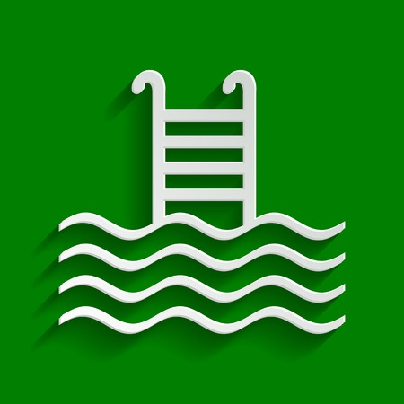 Swimming Pool sign. Vector. Paper whitish icon with soft shadow on green background. Illustration