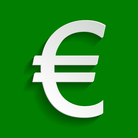 Euro sign. Vector. Paper whitish icon with soft shadow on green background. Illustration