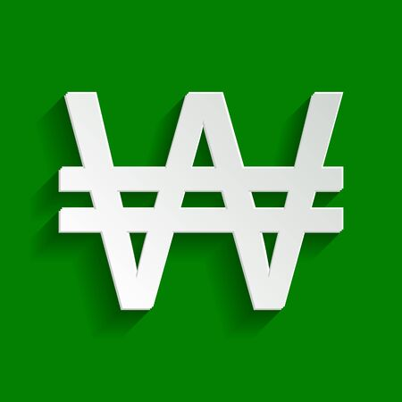 Won sign. Vector. Paper whitish icon with soft shadow on green background.