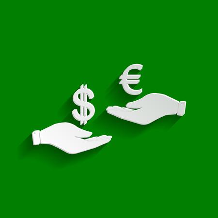 Valutawissel van hand tot hand. Dollar en Euro. Vector. Papier witachtig pictogram met zachte schaduw op groene achtergrond. Stock Illustratie