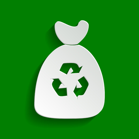 Trash bag icon. Vector. Paper whitish icon with soft shadow on green background.