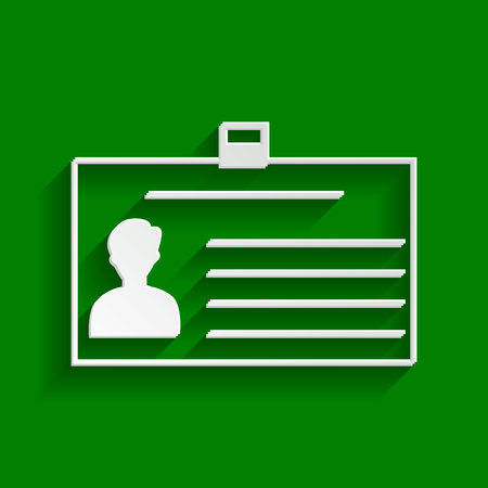 convention: Identification card sign. Vector. Paper whitish icon with soft shadow on green background. Illustration