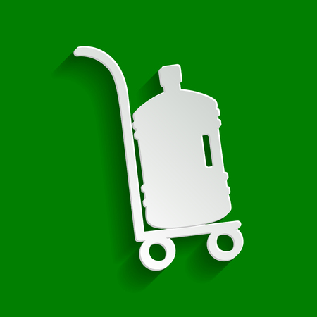 Plastic bottle silhouette with water. Big bottle of water on track. Vector. Paper whitish icon with soft shadow on green background.
