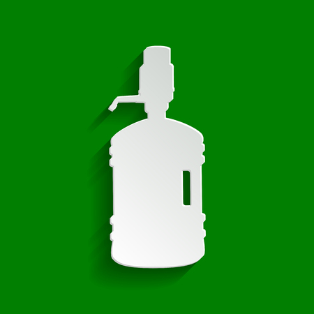 Plastic bottle silhouette with water and siphon. Vector. Paper whitish icon with soft shadow on green background.