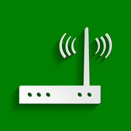 Wifi modem sign. Vector. Paper whitish icon with soft shadow on green background. Illustration
