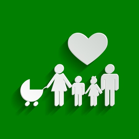 Family sign with heart. Husband and wife are kept childrens hands. Vector. Paper whitish icon with soft shadow on green background. Illustration