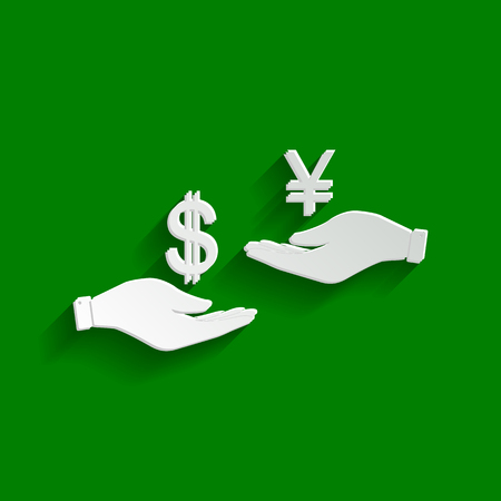 Currency exchange from hand to hand. Dollar and Yen. Vector. Paper whitish icon with soft shadow on green background.