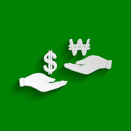 Currency exchange from hand to hand. Dollar and South Korea Won. Vector. Paper whitish icon with soft shadow on green background. Çizim
