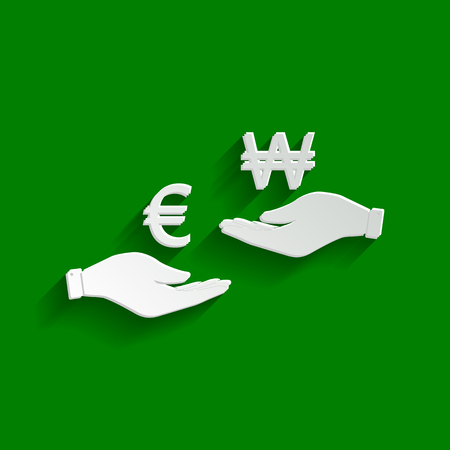 yen: Currency exchange from hand to hand. Euro and Won. Vector. Paper whitish icon with soft shadow on green background. Illustration