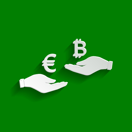 Currency exchange from hand to hand. Euro an Bitcoin. Vector. Paper whitish icon with soft shadow on green background.