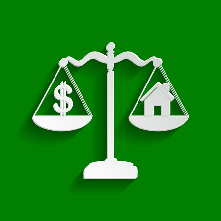 House and dollar symbol on scales. Vector. Paper whitish icon with soft shadow on green background.