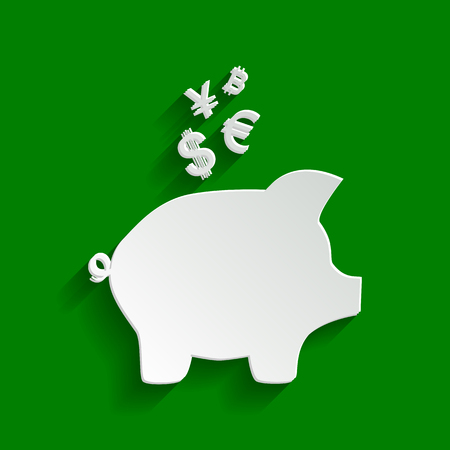 Piggy bank sign with the currencies. Vector. Paper whitish icon with soft shadow on green background. Illustration