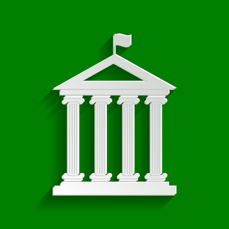 roman pillar: Historical building with flag. Vector. Paper whitish icon with soft shadow on green background. Illustration