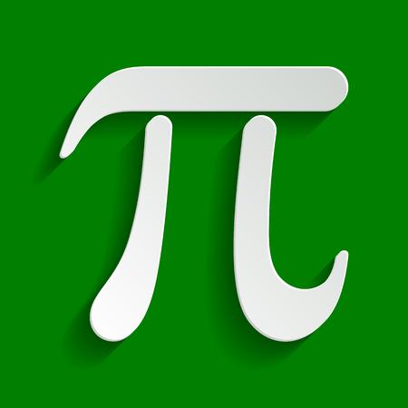 円周率のギリシャ文字の記号。ベクトル。緑の背景にソフト シャドウと紙の白っぽいアイコン。