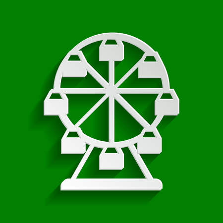 Ferris wheel sign. Vector. Paper whitish icon with soft shadow on green background. Illustration