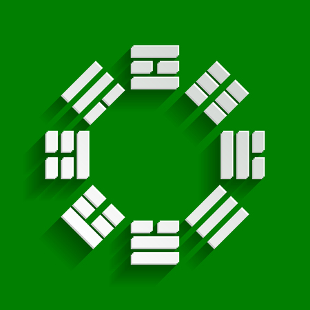 philosophic: Bagua sign. Vector. Paper whitish icon with soft shadow on green background. Illustration