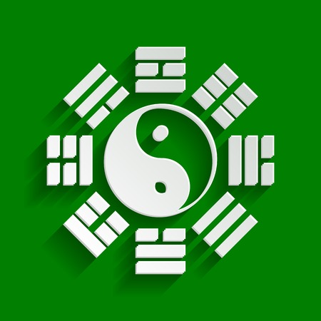 Yin and yang sign with bagua arrangement. Vector. Paper whitish icon with soft shadow on green background.